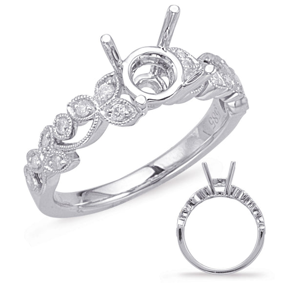 Ladies' 14K White Gold Vintage Inspired Leafy Diamond Engagement Ring