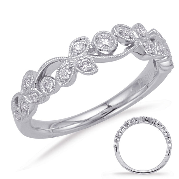 14K White Gold Ladies' Vintage Inspired Floral Design Stackable Diamond Wedding Band