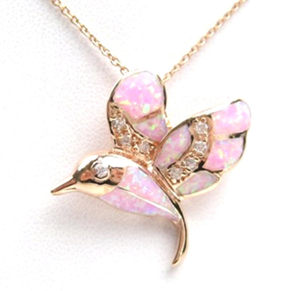 Sterling Silver 925 Rose Gold Plated Inlayed Pink Syenthtic Opal and CZ Hummingbird