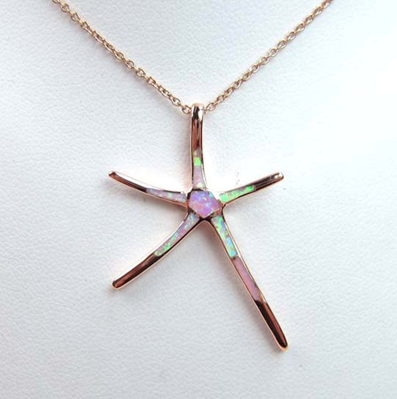 Sterling Silver 925 Rose Gold Plated Inlayed Synthetic Pink Opal Starfish Pendant