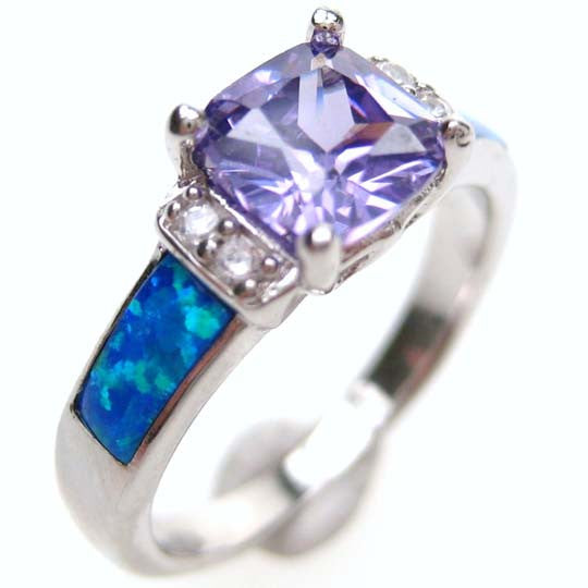 Sterling Silver Synthetic Opal Inlay Ring, w/ Cushion Cut Purple CZ