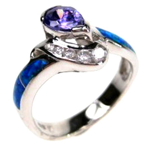 Sterling Silver Synthetic Opal Inlay Ring, w/ Teardrop Purple and White CZ