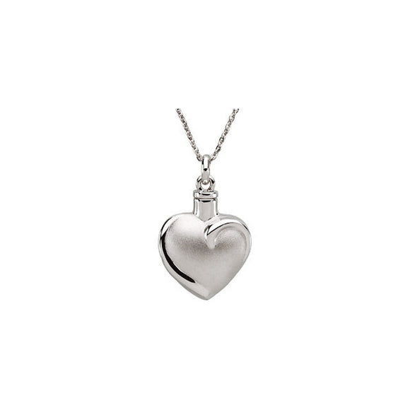 Sterling Silver 925 Fancy Heart Ash Holder Pendant with Chain