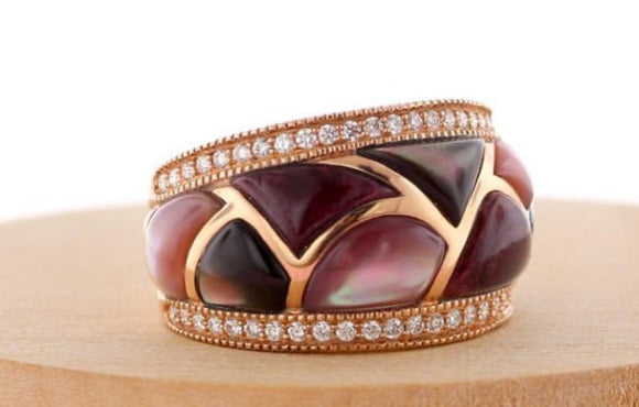 Ladies' 14K Rose Gold Kabana Multi-color Mother of Pearl and Diamond Ring