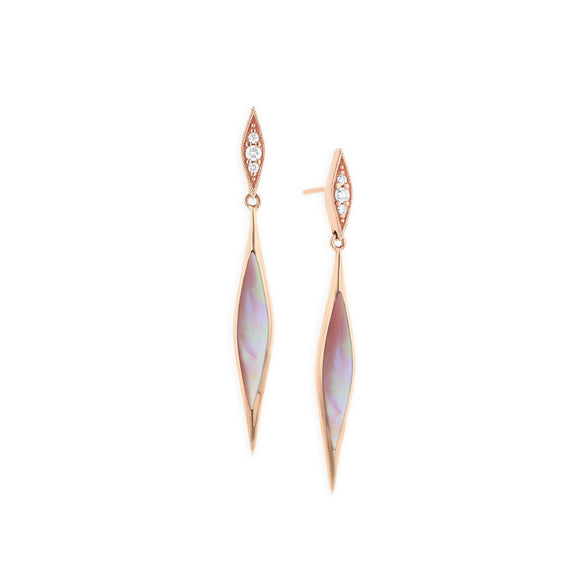 Kabana 14K Rose Gold Pink Mother of Pearl Inlay and Diamond Dangle Earrings