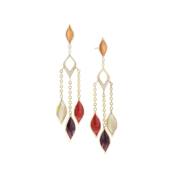 Kabana 14 K Yellow Gold Multi-Color Mother of Pearl Inlay and Diamond Dangle Earrings