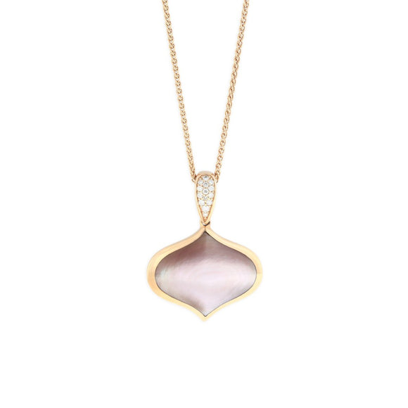 14K Kabana Rose Gold Pink Mother of Pearl Pendant with chain