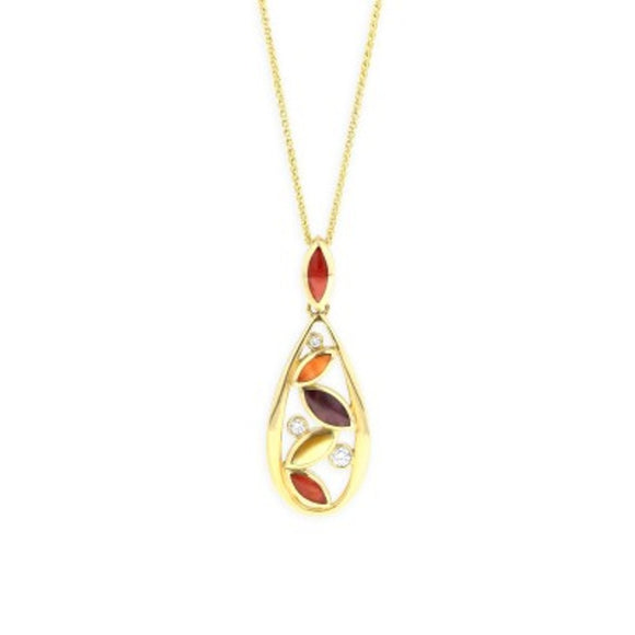 14K Yellow Gold Kabana Multi Color Mother of Pearl Pendant