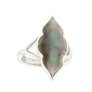 Sterling Silver Kabana Black Mother of Pearl Ring