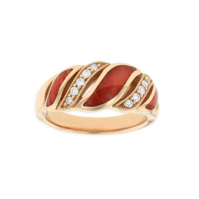 Kabana 14K Rose Gold Ring with Red Spiny Oyster Inlay and Diamonds Size 8