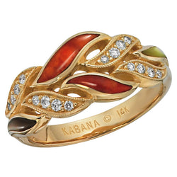 Ladies' Kabana 14K Yellow Gold Diamond and Multicolored Mother of Pearl and Red Spiny Oyster Ring