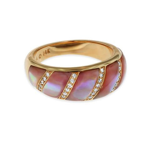 Kabana 14K Rose Gold Pink Mother of Pearl Inlay and Diamond Ring