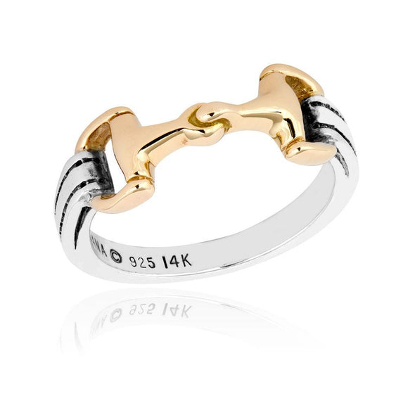 Sterling Silver and 14K Yellow Gold Snaffle Bit Horse Ring