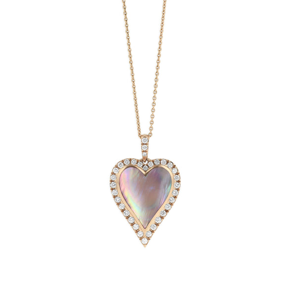 Kabana 14K Rose Gold Diamond, Mother of Pearl Inlay Necklace