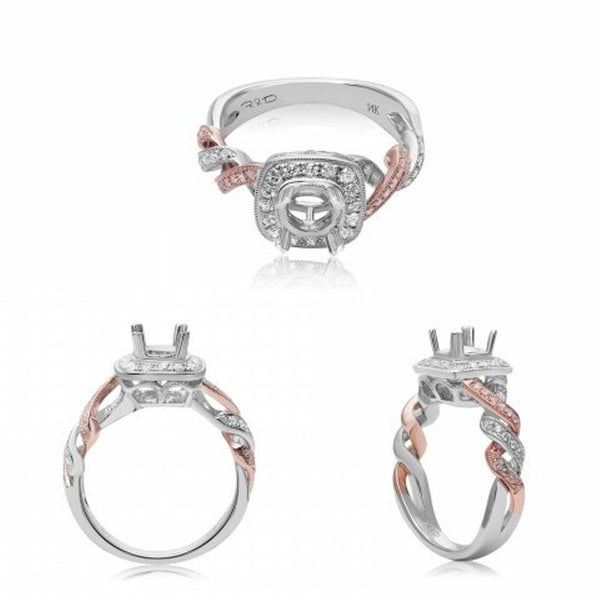 14k Rose and White Gold Engagement Ring