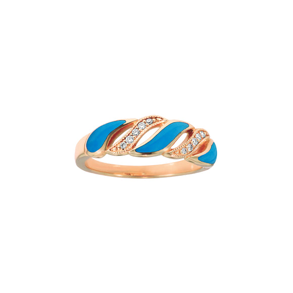 Kabana 14K Rose Gold Diamond and Turquoise Ring