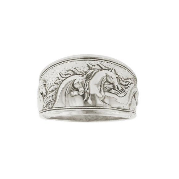Kabana Horse Ring Sterling Silver Antiqued Tapered Band Size 7
