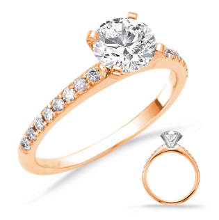 14K Rose Gold Engagement Ring with 16 side stones