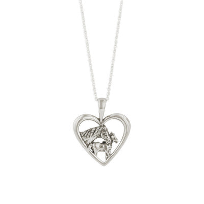 Kabana Horse Mare and Foal Heart-Shaped Sterling Silver Necklace