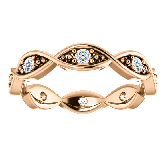 14K Rose 1/4 CTW Diamond Infinity-Inspired Eternity Band