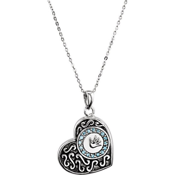 Sterling Silver Boy Hand-print Ash Holder Pendant with Blue CZ