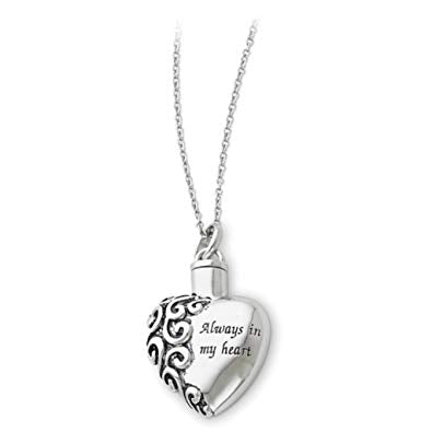 Sterling Silver Heart Shaped Always in My Heart Ash Holder Necklace