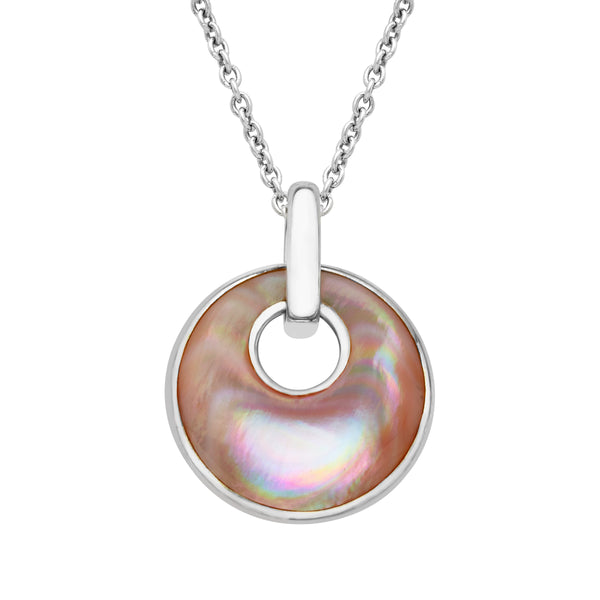 Kabana Sterling Silver Pink Mother of Pearl Round Pendant