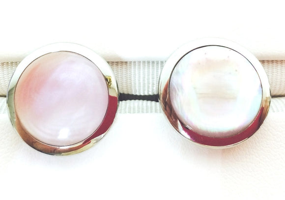 Stainless Steel Pink Mother of Pearl Cuff Links [Jewelry]