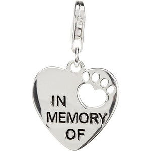 Sterling Silver 925 Heart U BackTM In Memory Of Pet Paw Pendant with Chain