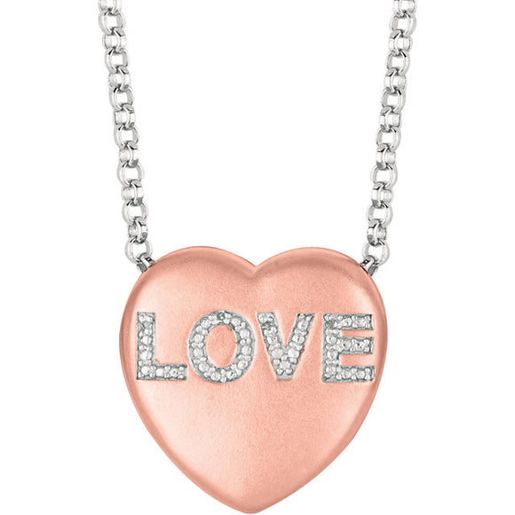 Sterling Silver 925 Rose Gold Plated Genuine Diamond Sweetheart