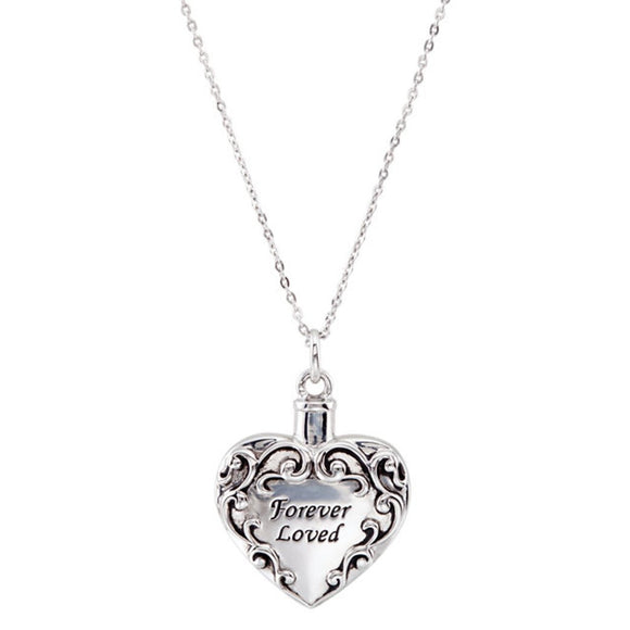 Sterling Silver Heart Shaped Forever Loved Ash Holder Neckace