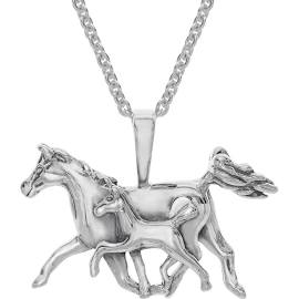 Kabana Mother's Jewel Horse Pendant Necklace in Sterling Silver
