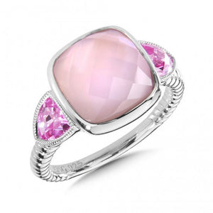 Sterling Silver Pink Mother of Pearl and Sapphire Ring Size 7