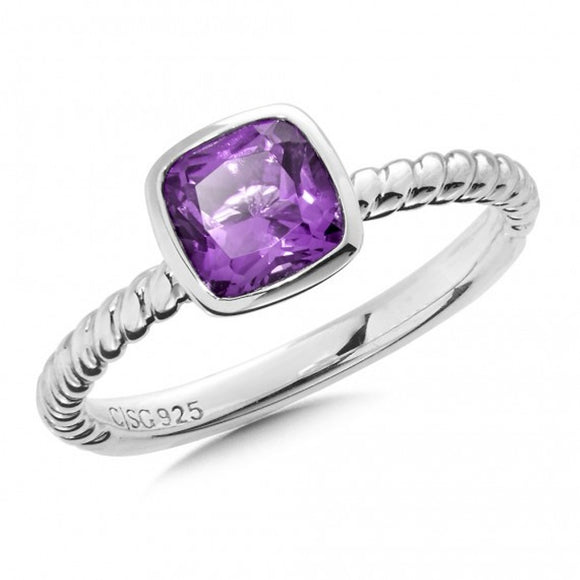Sterling Silver Cushion Cut Amethyst Ring Size 7