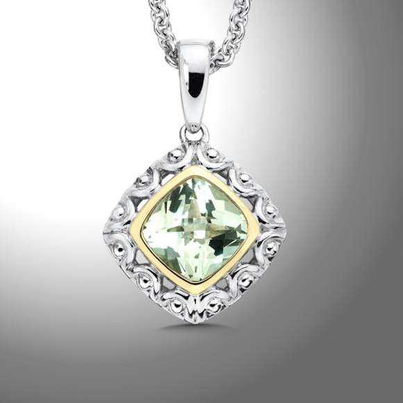 Sterling Silver & 18K Yellow Gold Green Amethyst Pendant With Chain [Jewelry]