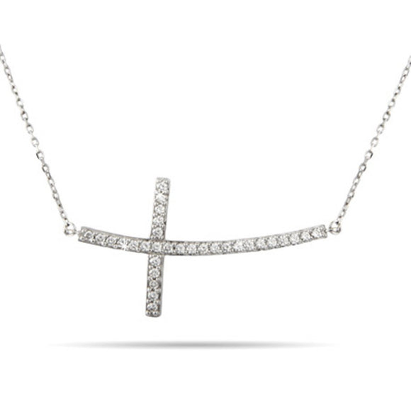 Sterling Silver Sideways Cross Necklace With Cubic Zirconia