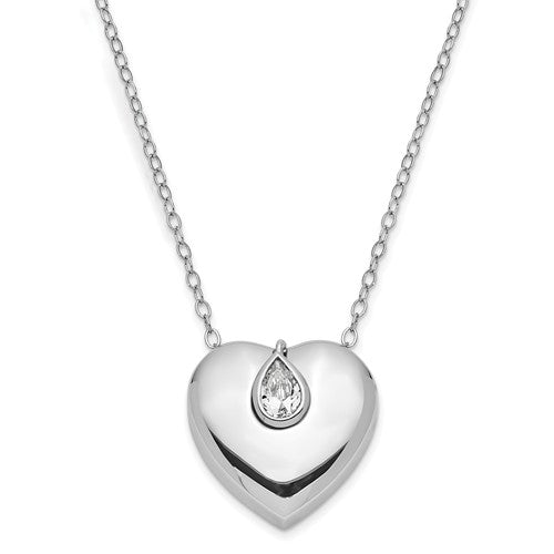 Sterling Silver Heart-Shaped CZ Ash holder Necklace