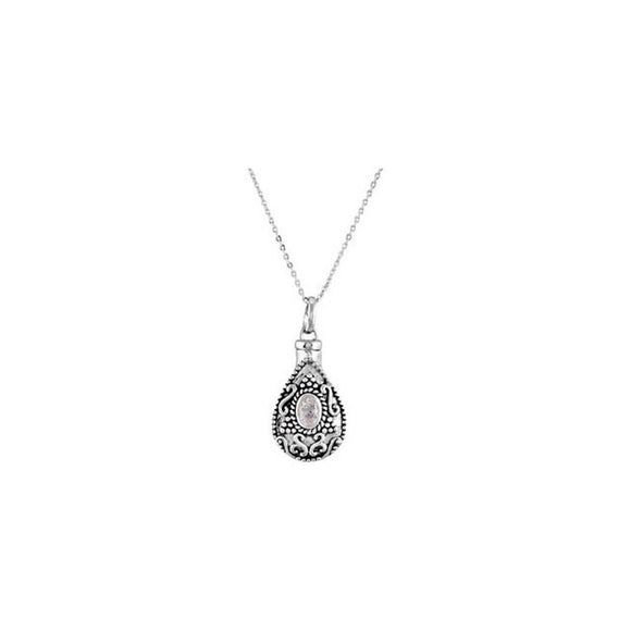 Sterling Silver April Imitation Birthstone Tear Ash Holder Pendant With CZ an...