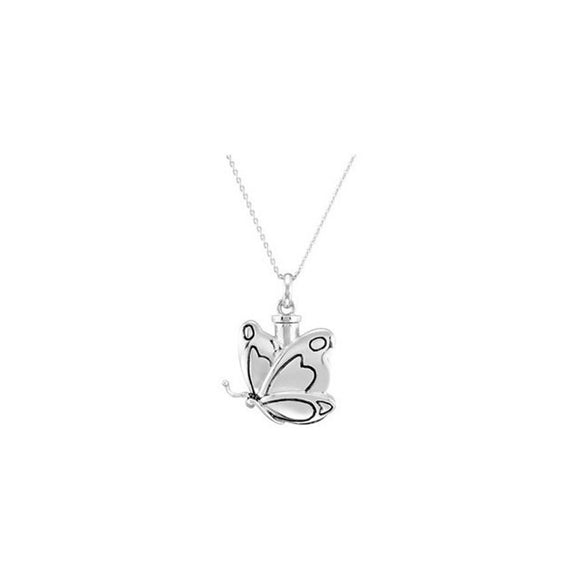 Sterling Silver 925 Butterfly Cremation Ash Holder Pendant and Chain [Jewelry]