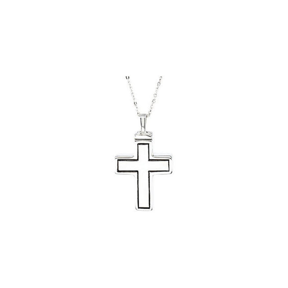 Sterling Silver Cross Ash Holder Pendant With Chain Size 27.25X19.75 MM
