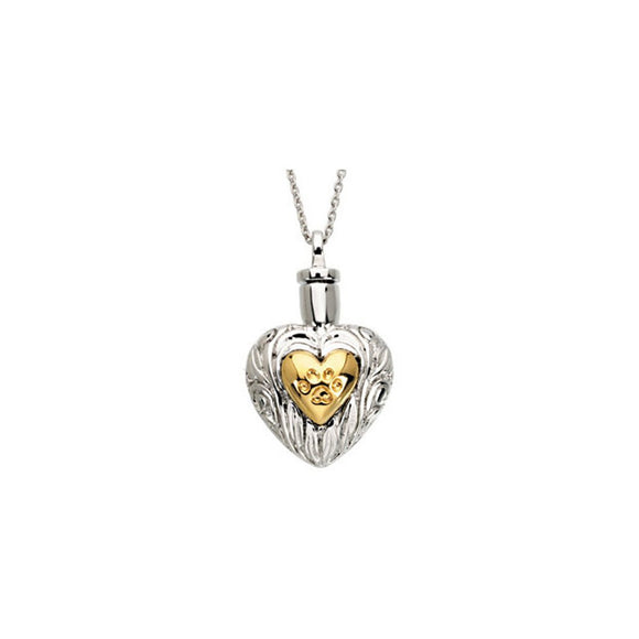 Sterling Silver & 14K Yellow Gold Plated Pet Paw Heart Ash Holder Necklace wi...