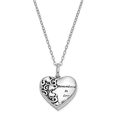 Sterling Silver Heart Shaped Remember in Love Cremation Urn Ash holder Necklace