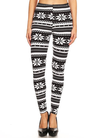 Christmas Leggings Black & White Curvy