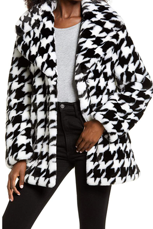Black & White Plush Houndstooth Coat