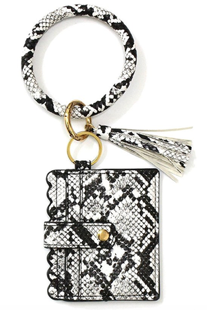 Snake Print Keychain with Cardholder