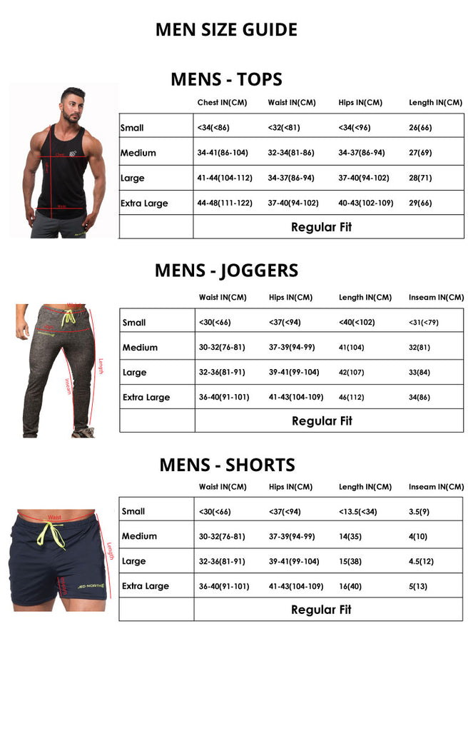 0a3c35f684a7 Sizing Chart | Performance Gym Apparel - Jed North