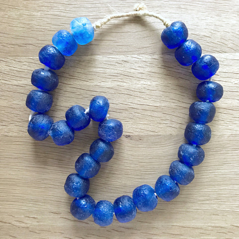 Large African Sea Glass Beads - Cobalt Blue