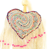 Keychain Hmong Heart Fabric - White