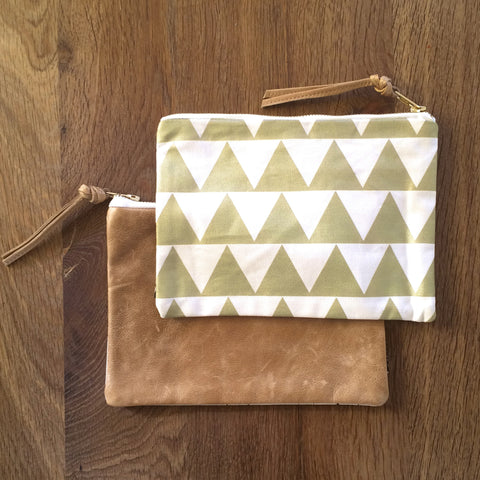 Pouch - Gold Triangle with Leather Backing