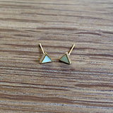 Triangle Mint Blue Studs - Gold